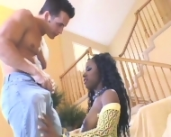 Ebony Girl Fucks White Cock